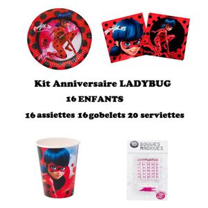KIT DE DECORATION Kit Miraculous Ladybug 52 pièces Anniversaire Fête