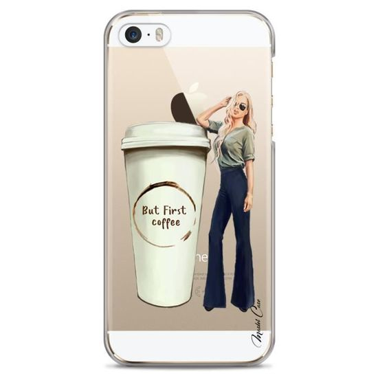 Coque Iphone 5 5s Se Transparente Motif Dessin Designer Coffee