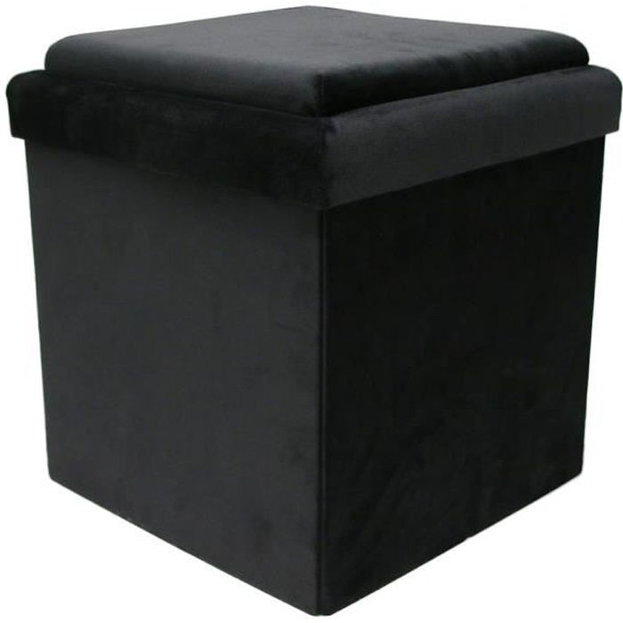 THE HOME DECO FACTORY Coffre Pouf Pliable Table Velours - 38 x 38 cm M4 - Noir