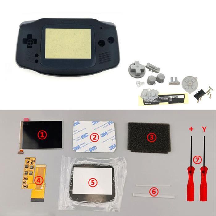 Kits d'écran LCD IPS V2 Boutons de boîtier de boîtier de coque prédécoupés pour console GBA Game Boy Advance noir