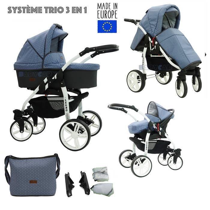 Graphite-Bleu LEGRO Trio Poussette - Landau 3en1 Combinée avec siège auto, ROUES PIVOTANTES LB11