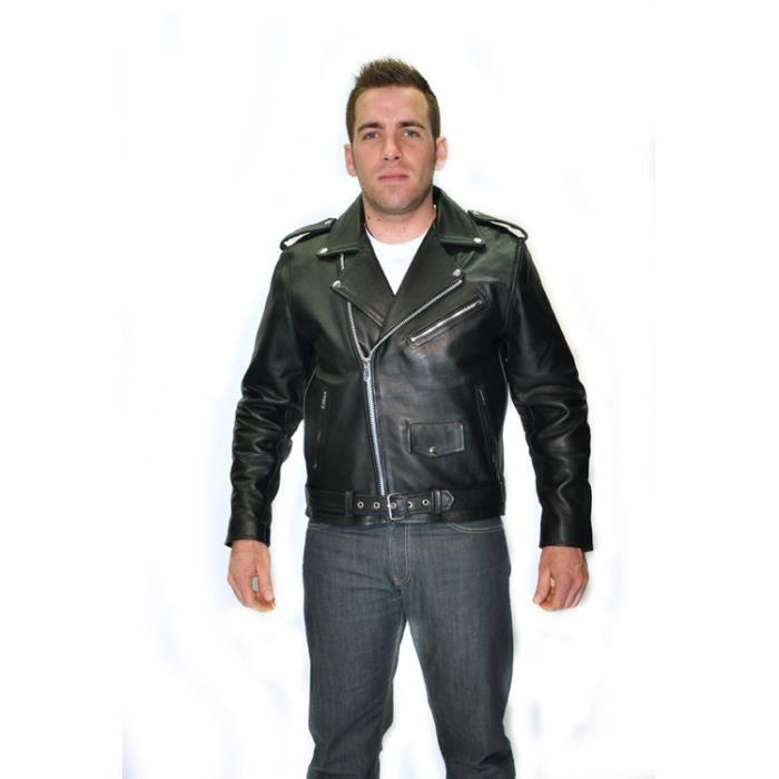 BLOUSON NOIR MOTO BIKER CUIR HOMME PERFECTO XL