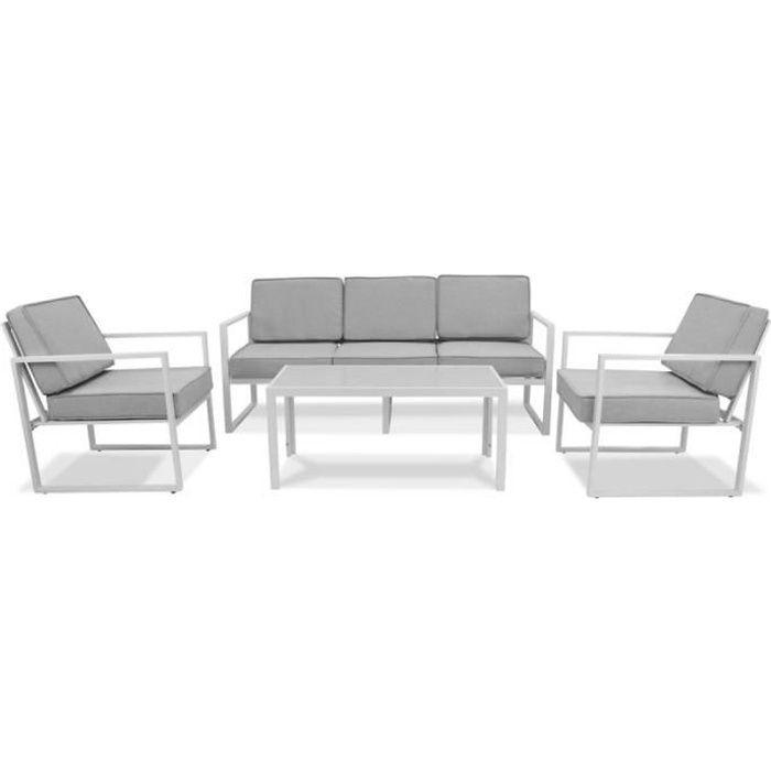 Salon de jardin 5 places en aluminium - ensemble canapé 2 places, 2 fauteuils et 2 tables basses pour 5 personnes