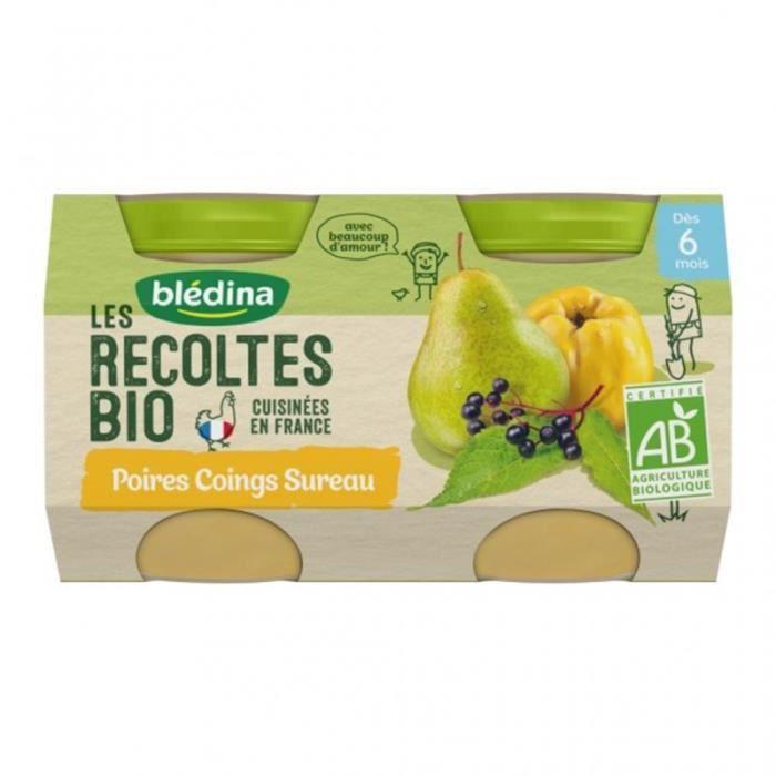 Blédina Les Récoltes Bio Poires Coings Sureau (dès 6 mois) par 2 pots de 130g (lot de 8)