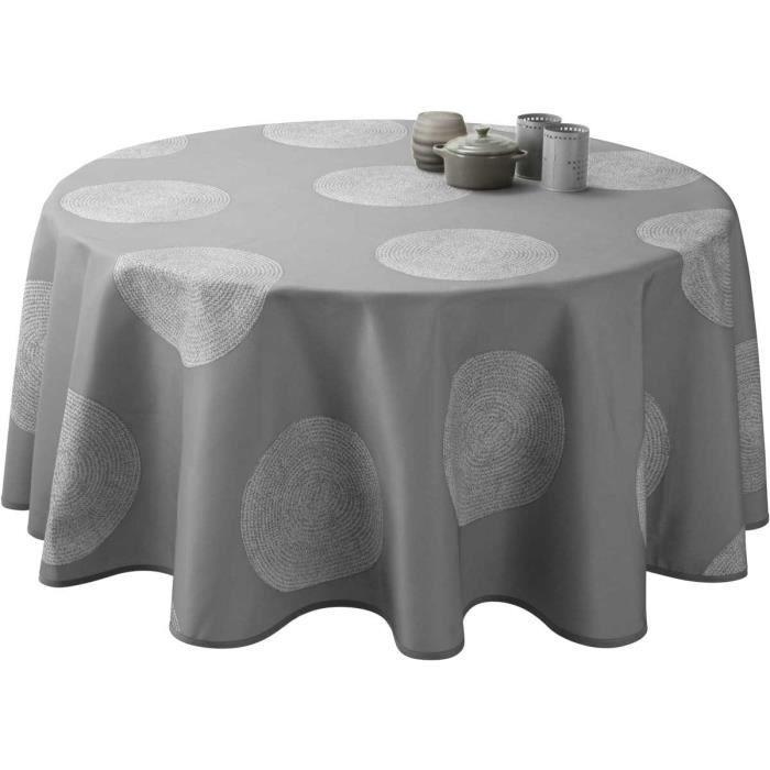 Nappe anti-taches Ovale 150x240 cm - Cercles gris