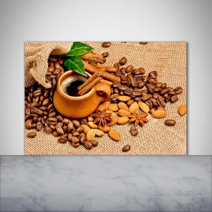 Tulup 100x70cm Crédence de cuisine sur verre sécurité:- Nourriture boissons - Grains De Café Une Tasse - Brun