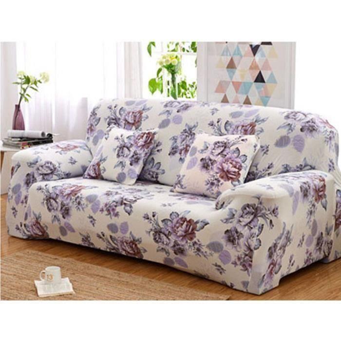 Housse de canapé-fauteuil 3 places-personnes clic clac d'angle extensible décoration maison 190-230cm (Fleur)