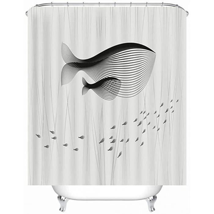 rideau de douche en tissu imperméable et anti-moisissure avec 12 anneaux de rideau de douche, lavable, 240 x 200 cm motif animaux ba