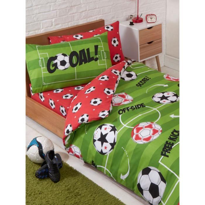 Parure de lit Reversible Football pour lit 70x140 cm Vert