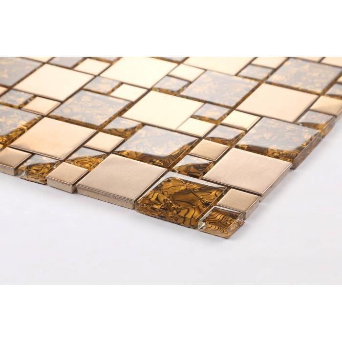 Carrelage mosaïque en verre et acier inoxydable. Or Motif rayures ondulées. (MT0087) - échantillion