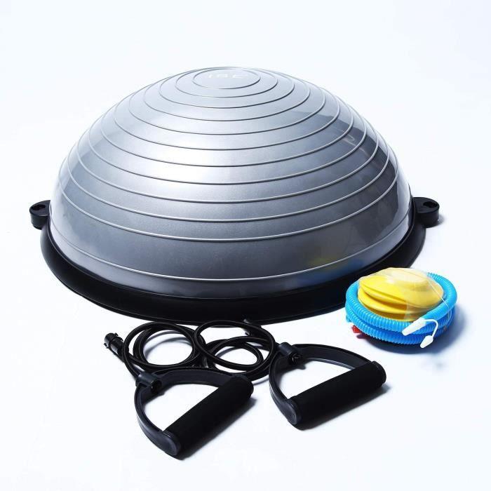Balance Trainer, Demi-Ballon d'Entraînement Ø 58 cm, avec Câbles de Resistance et Pompe, pour Yoga, Gymnastique et Autres Sports BAS