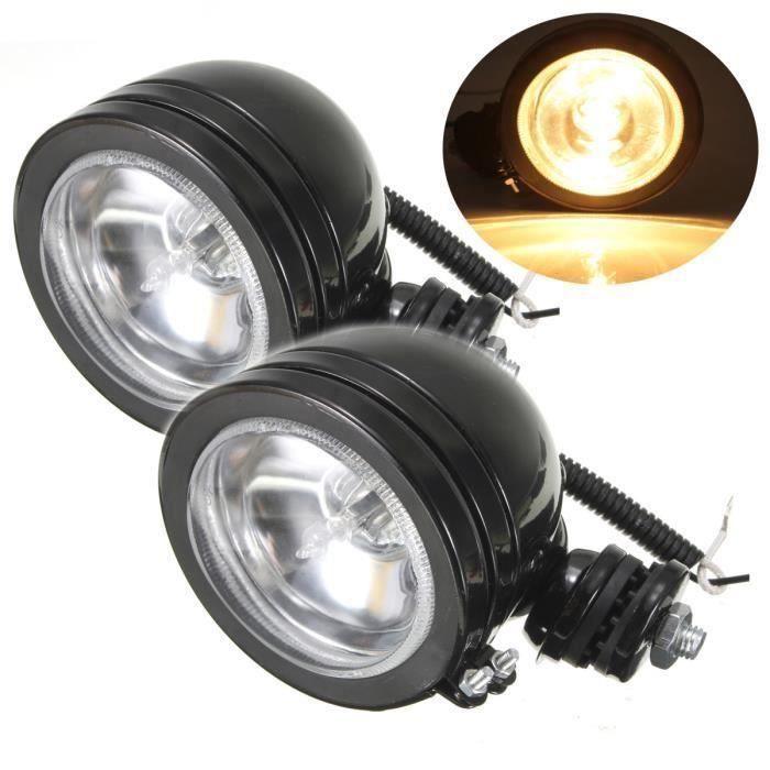 2Pcs Universel 4'' LED H3 Phare Projecteur Longue Portée Travail Feux Avant Moto My17342