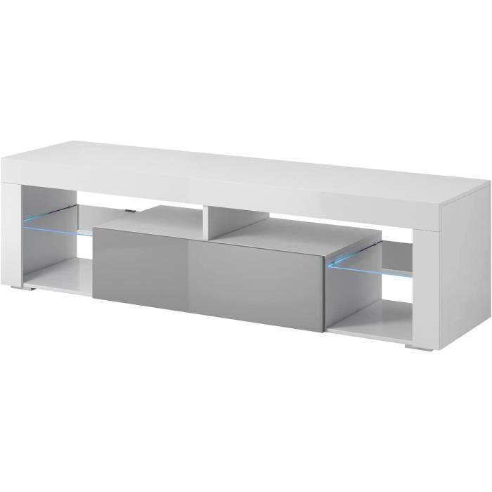 6>E-com Titan Meuble TV Bas avec LED Blanc-Gris 140 cm