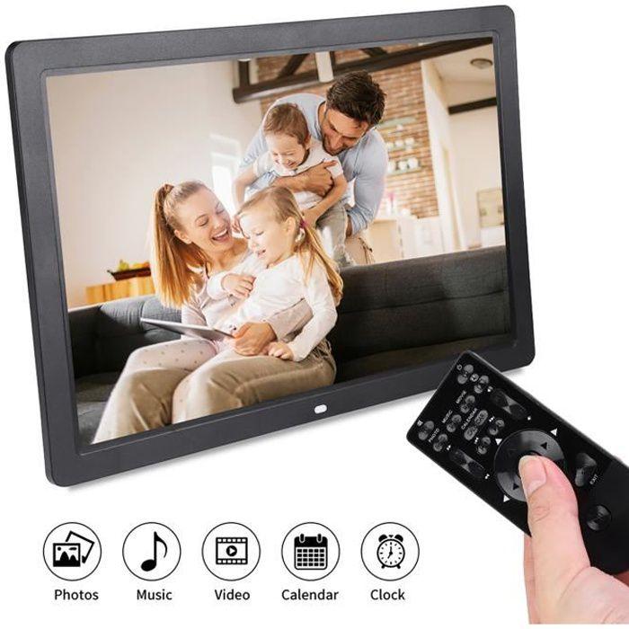 Cadre photo numérique 17 pouces 1440 * 900HD cadre photo numérique réveil lecteur Album télécommande noir EU-FAS