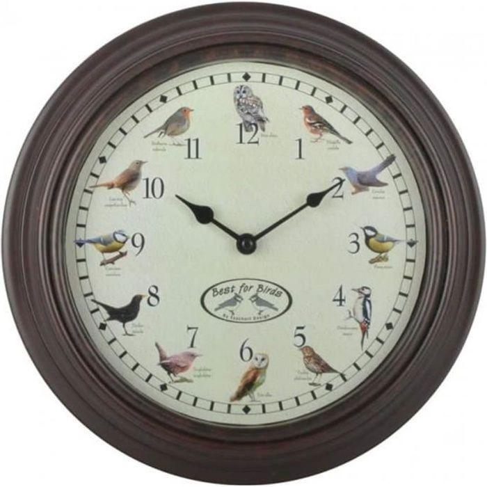 Esschert Design Horloge avec sons d'oiseaux