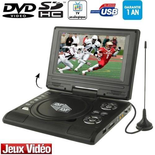DVD/TV Portable écran 7.5p LCD (USB-SD-Jeux) Noir
