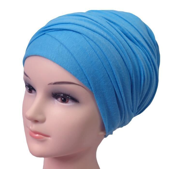 Hijab Femme Foulard Écharpe Turban Châle Islamique, Tissu en Jersey Premium (Bleu Azur)