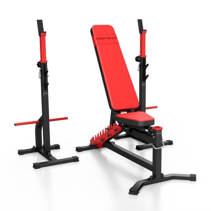 Marbo-Sport MS30 Banc de musculation réglable des deux côtés MS-L102 + 2 supports d'haltères avec sécurité