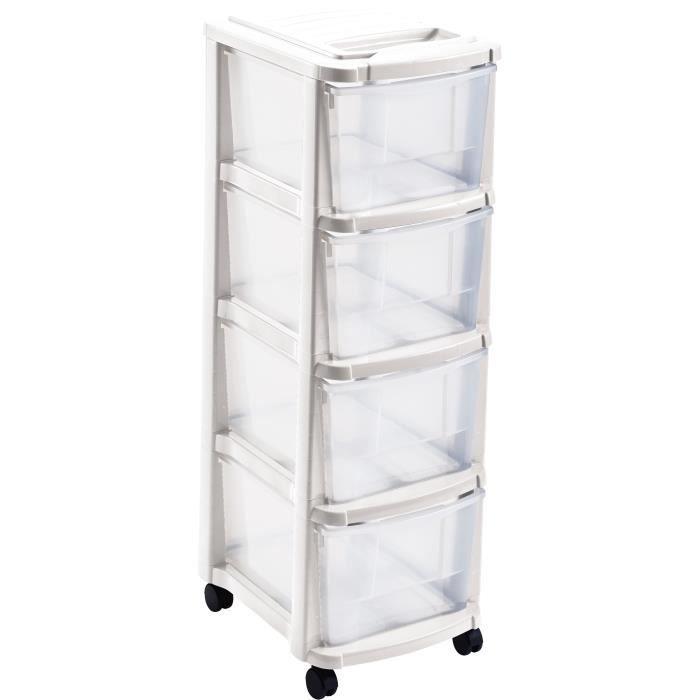 MHOME Tour de rangement 4 tiroirs - Blanc - L 29 x 39 x 84 cm
