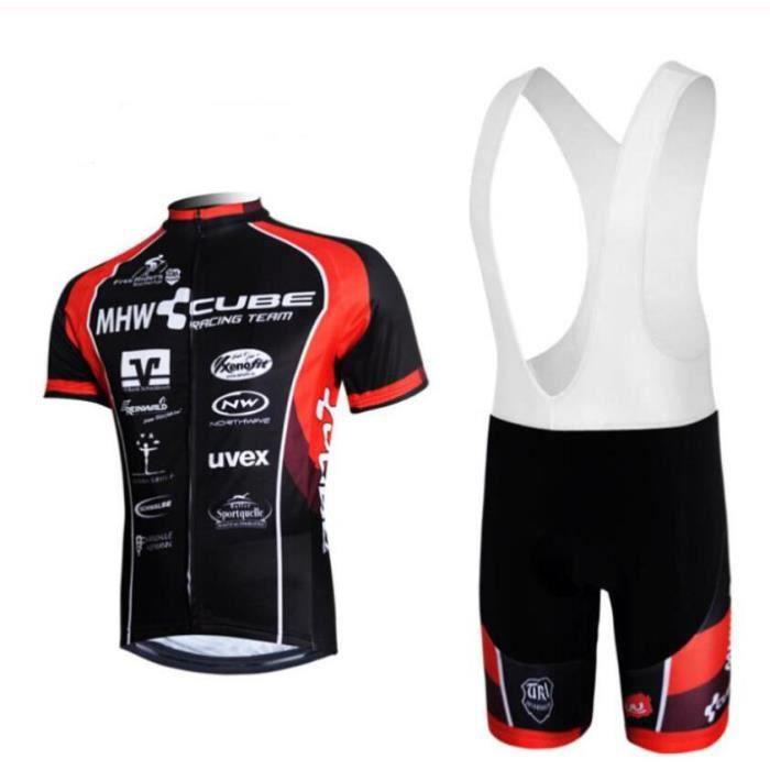 CUBE Maillot de Cyclisme Manches Courtes Homme + Cuissard à Bretelle Vélo GEL Combinaison VTT Ensemble de Vetement Equipe Pro
