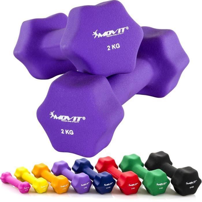 MOVIT Lot de 2 haltères en néoprène violet (2x2kg)