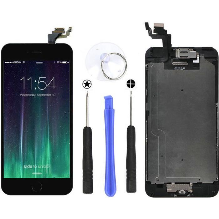 NOIR ECRAN LCD POUR IPHONE 6 Complet 4.7+ HOME CAMERA+ VITRE TACTILE CHASSIS