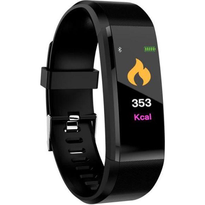 SHOP-STORY - Bracelet Montre connectée Tracker d'activités - Noir