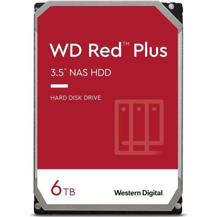 WD Red™ Plus - Disque dur Interne NAS - 6To - 5400 tr/min - 3.5- (WD60EFZX)