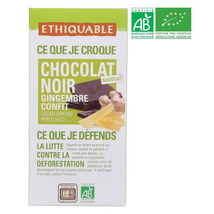 ETHIQUABLE Chocolat Noir au Gingembre Confit Bio - 100g