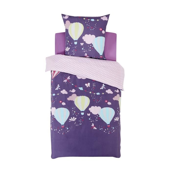 melia parure de couette enfant pour lit 1 place violet. Black Bedroom Furniture Sets. Home Design Ideas