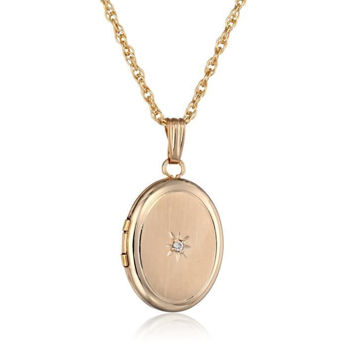 Yellow 14k Gold-filled Engraved Oval With Genuine Diamond Locket Necklace, 18 PZVA9