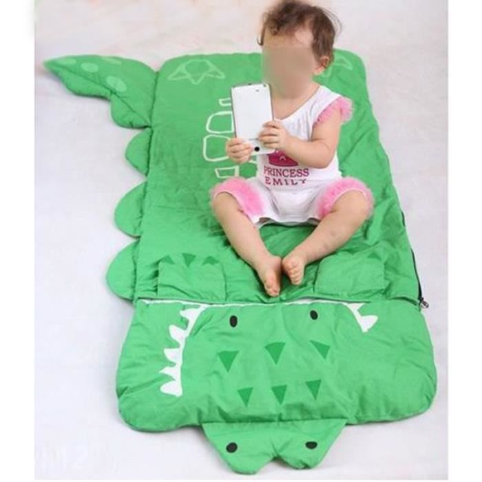 sac de couchage enfant duvet enfant avec oreiller sac de couchage crocodile vert 140 60cm prix. Black Bedroom Furniture Sets. Home Design Ideas