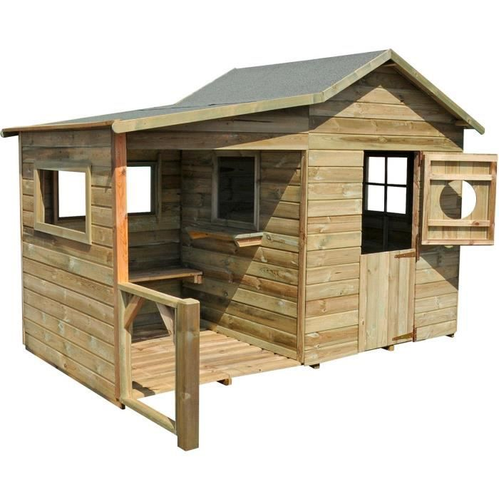 cabane en bois enfant peindre hacienda 243x125x175 cm achat vente maisonnette ext rieure. Black Bedroom Furniture Sets. Home Design Ideas