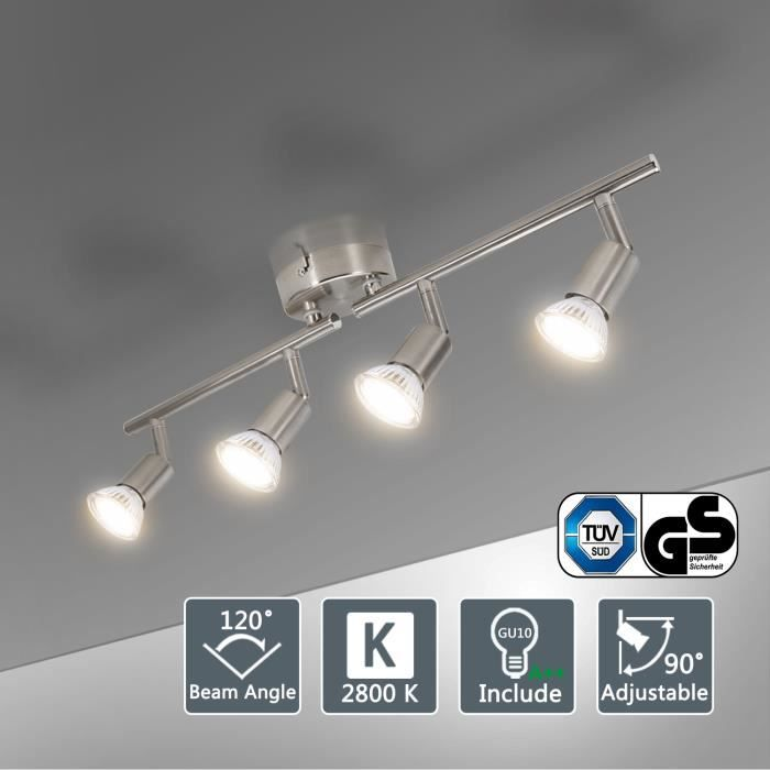 Blanc Chaud Luminaire Plafonnier pour Chambre Salon Cuisine Spot Plafond inclure 4 x 4W G9 Ampoules Plafonnier LED 4 Spots Orientables