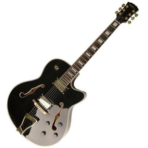 STAGG Guitare Electrique Jazz Semi-Acoust. Noir