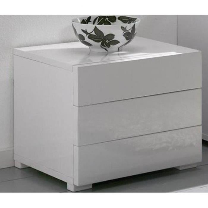 Chevet design high gloss 3 tiroirs blanc brillant achat - Table de chevet laque blanc ...