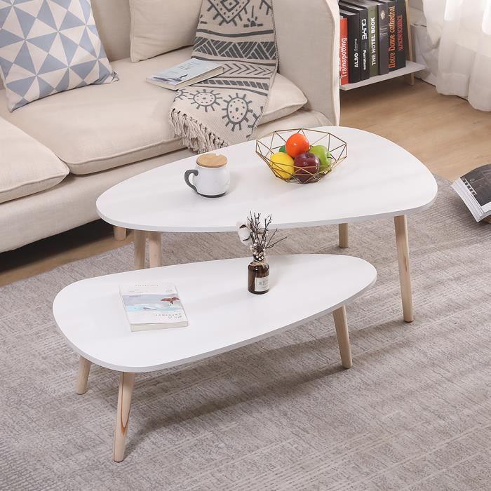 JEOBEST Lot de 2 Tables Basses Gigognes Blanc+Gris, Ovale, 2 Tables dappoint Gigognes Table Dextr/émit/é Table de Salon