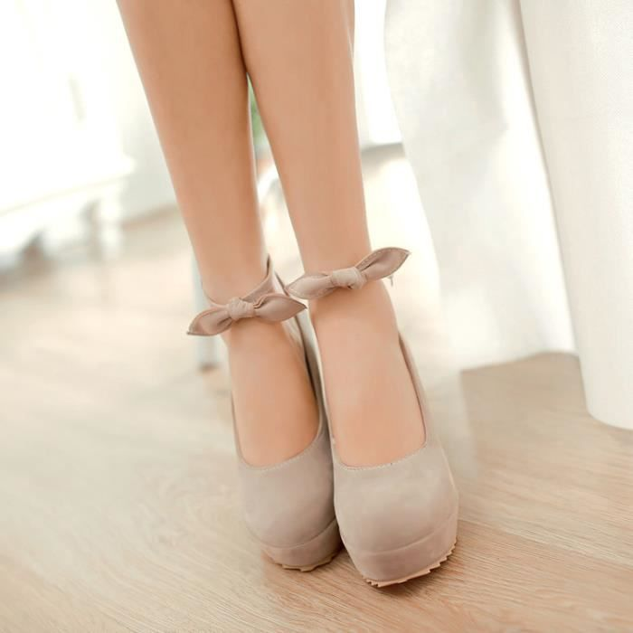 talons hauts-Pure Color High Heel Wedge Heel femmes Band bowknot Pompes