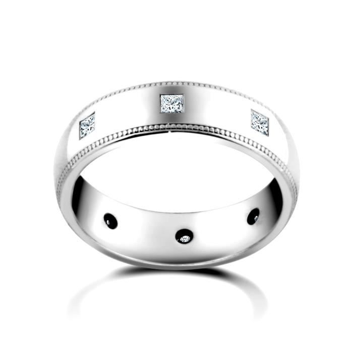 Jewelco London Or blanc 9k 0.4ct Diamant éternité mariage bague 4mm