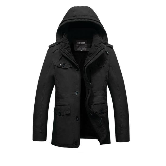 parka homme capuche grande taille m 6xl noir manteau blouson chaud veste laine pais hiver noir. Black Bedroom Furniture Sets. Home Design Ideas