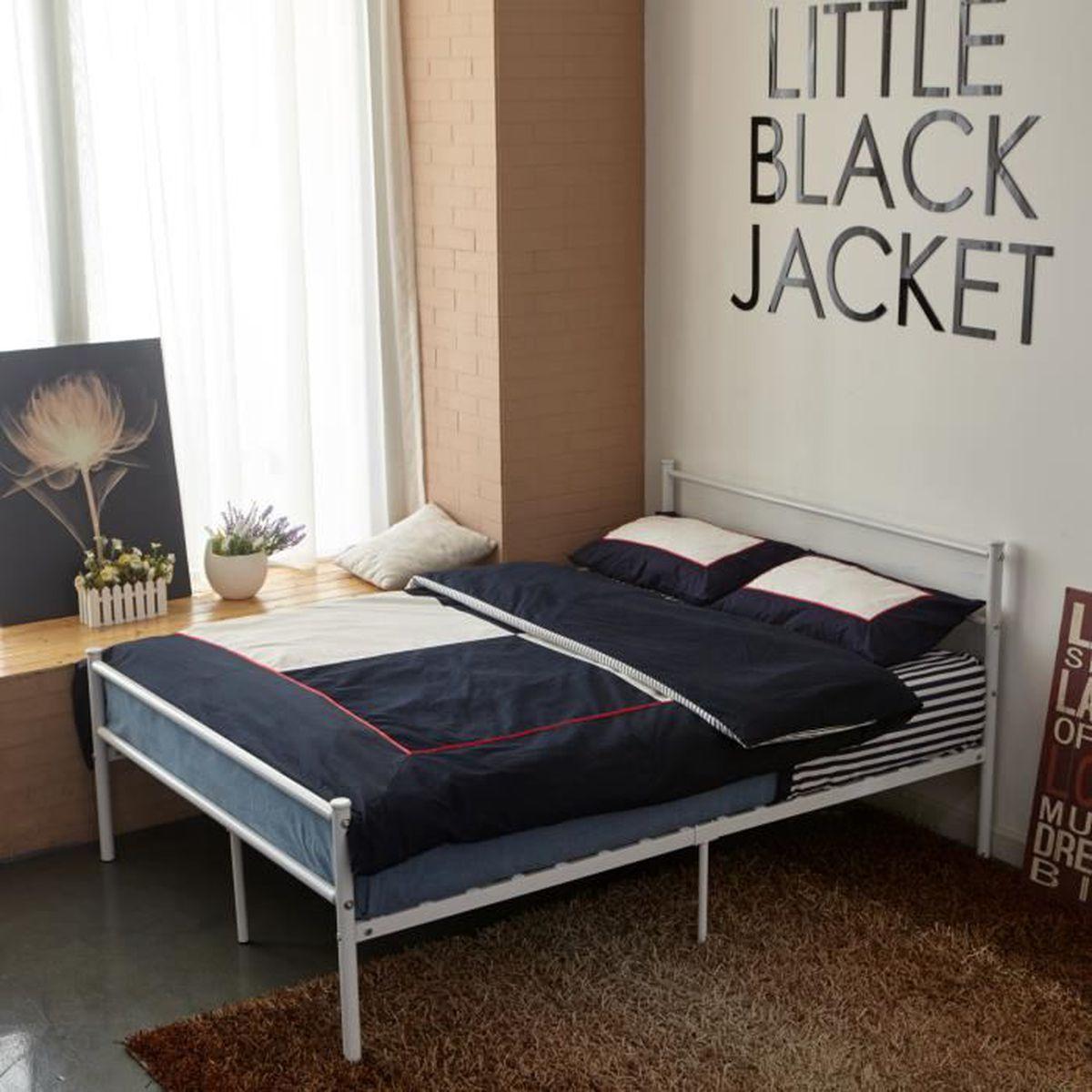 Chambre A Coucher Adulte blanc lit double métal 4ft6 cadre de lit adulte enfant