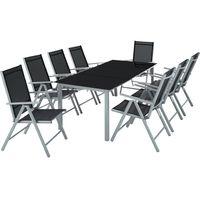 TECTAKE Salon de Jardin avec 8 Chaises Pliantes et 1 Table en Verre et en Aluminium Gris clair Noir