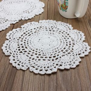 NAPPE DE TABLE JETABLE Lot de 3 Napperon 20cm Blanc Dentelle au Crochet