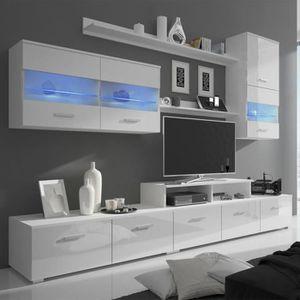 MEUBLE TV 7 pcs Meuble TV avec LED 250 cm Blanc haute brilla