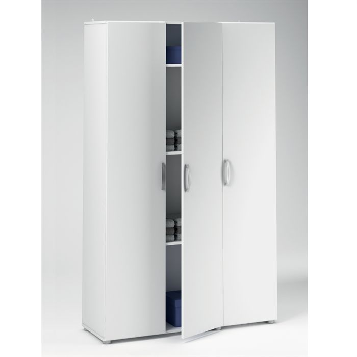 Util armoire multifonction 3 portes 4 rayons achat vente armoire de chambre util armoire 3 for Porte placard blanche