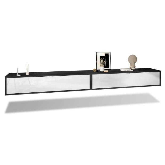 Ensemble de 2 set meuble TV Lana 140 armoire murale lowboard 140 x 29 x 37 cm, caisson en Noir mat, façades en Blanc haute brillance