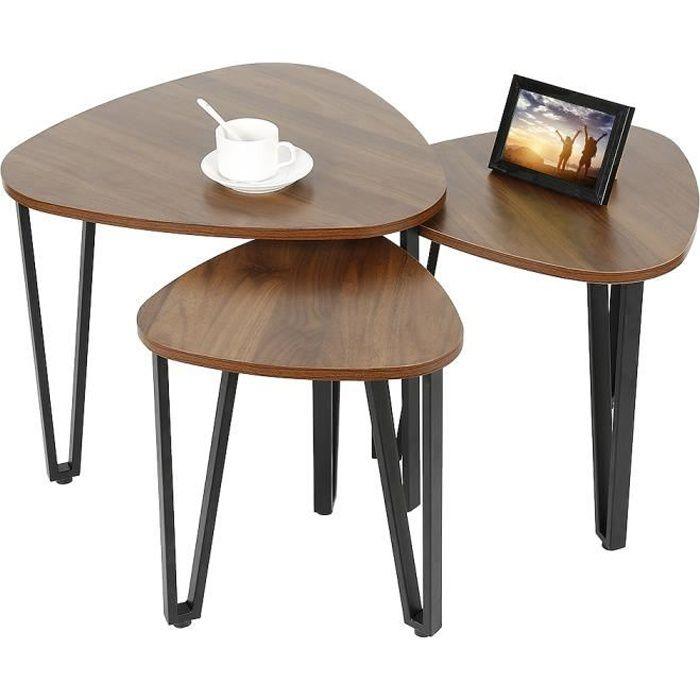 3 Tables Basses Gigognes en Bois+Métal Style Industriel
