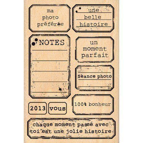 Florilèges Design FHA113030 Tampon Scrapbooking Etiquettes Vintage Beige 15 x 10 x 2,5 cm