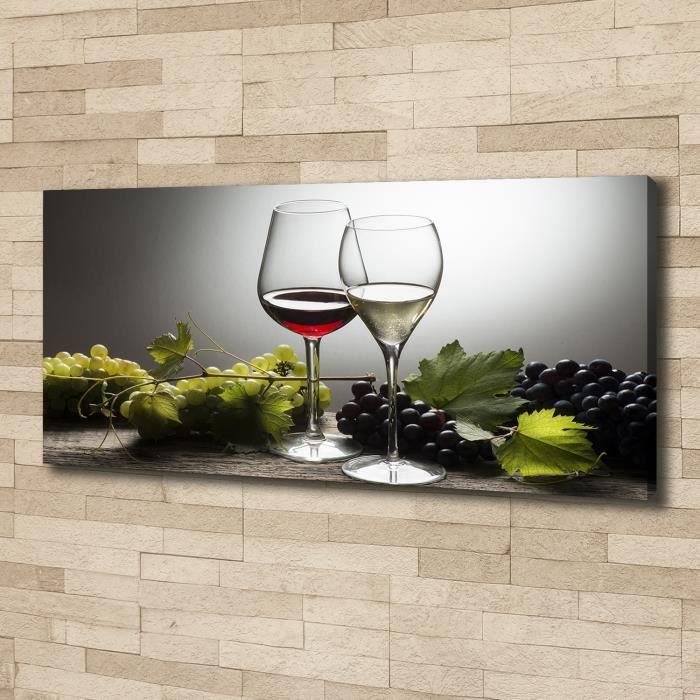Tulup 125x50 cm art mural - Image sur toile:- Nourriture boissons - Vin Raisins - Rouge