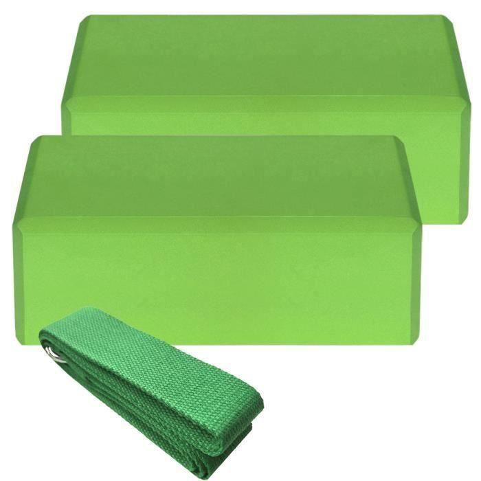 2pcs Yoga Bloquer moussant mousse brique exercice de remise en forme Stretching aide Gym + 1pcs Bande extensible vert